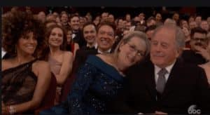 """Meryl Streep, the actress whom President Trump tweeted is """"highly overrated,"""" took shield behind her husband, Don Gummer, as she received a standing ovation during the 89th Annual Academy Awards. Credit: abc via cosmopolitan.co.uk"""