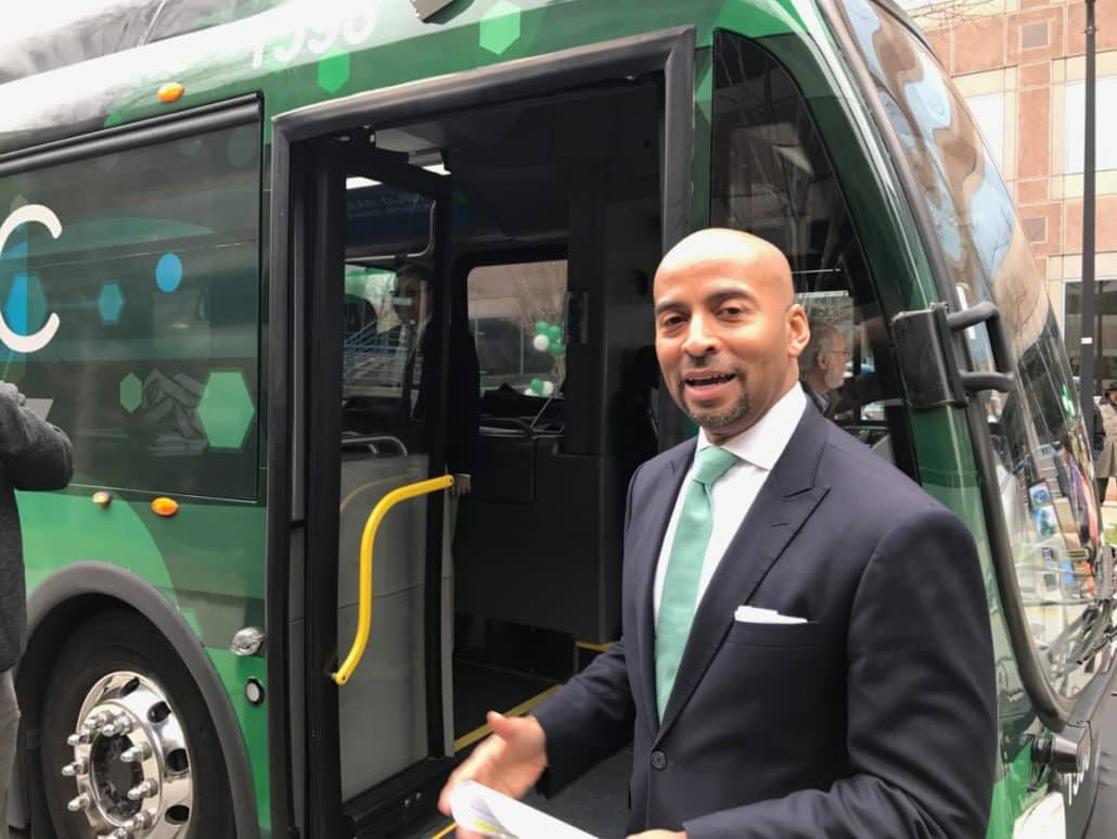 MARTA's Keith Parker gets ready to board Proterra bus (By Maria Saporta)