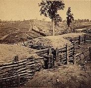 """Rebel lines N.W. of the city, between the W. & A. R.R. and Peach Tree Street, Atlanta, Ga., Nov. 1864,"" by George N. Barnard (Library of Congress)"