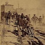 """Finishing railroad iron, Atlanta, Ga, Nov. 14th 1864,"" by George N. Barnard (Library of Congress)"