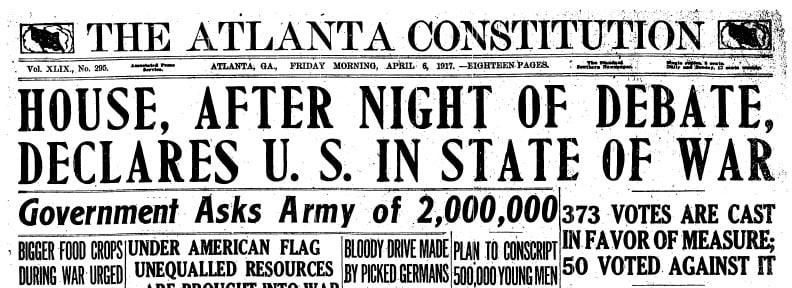 WWI headline