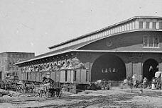 """Atlanta, Ga. Boxcars with refugees at railroad depot,"" by George N. Barnard (Library of Congress)"