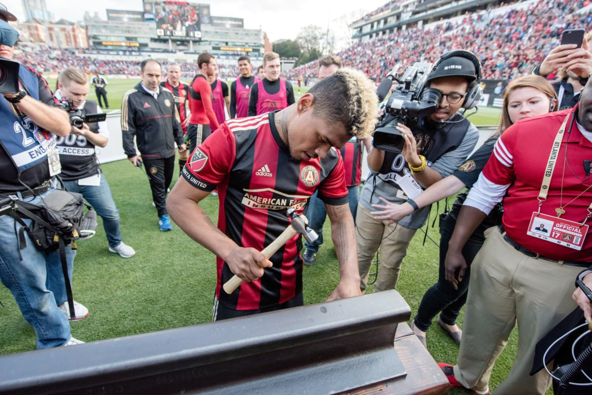 Player Josef Martinez was chosen to receive the golden spike after the team's first match. (Atlanta United Football Club)