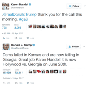 Karen Handel's nuanced message on social media recognizes her need to retain President Trump's supporters while reaching to voters who don't support the president's views. Credit: twitter.com, David Pendered