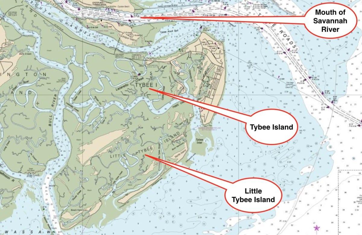 tybee island chart, nesting area