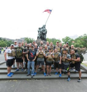 The half-marathon to raise awareness and funding to care for wounded vets started at the U.S. Marine Corps War Memorial, which depicts an historic World War II battle and commemorates all the marines and their allies who have given their lives since 1775. Credit: Special to saportareport.com