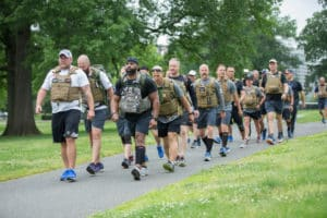 The Shepherd's Men completed a 22-kilometer course in Washington wearing 22-pound flak jackets. They did not run the entire distance. Credit: Special to saportareport.com