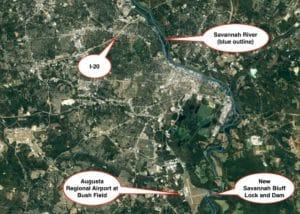New Savannah Bluff Lock and Dam, map