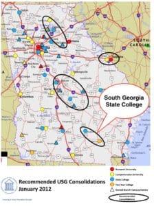 south georgia state college, locator map