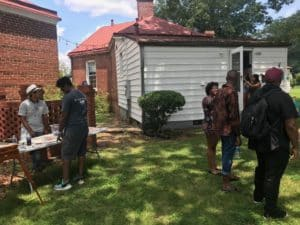 Visitors to Wolf Idea Groups new space at Fort McPherson on July 8. Credit: Kelly Jordan