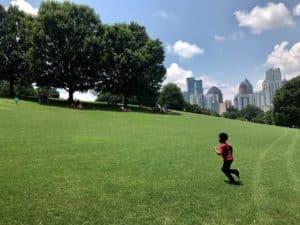 piedmont grass, child running