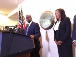 Atlanta Mayor Kasim Reed, with Atlanta Housing Authority President and CEO Catherine Buell, announced the Civic Center proposal at City Hall on Thursday.