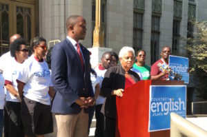 On Thursday, former Atlanta Mayor appeared on the steps of City Hall to endorse Courtney English for City Council. Credit: Maggie Lee
