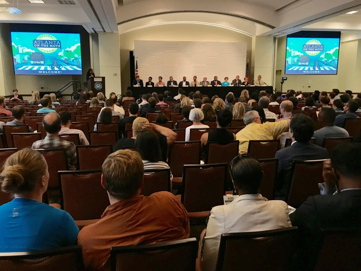 A few hundred people gathered Downtown on Tuesday evening to hear 12 Atlanta mayoral candidates take questions about transit. Credit: Maria Saporta