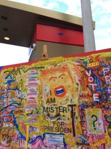 Artwork outside Manuel's Tavern from November, 2016, opines on voting. Credit: Kelly Jordan