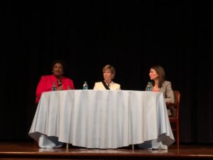 """Former Georgia Secretary of State Cathy Cox, center, moderated a """"conversation"""" between Georgia Democratic gubernatorial hopefuls Stacey Abrams (left) and Stacey Evans (right) at a Carter Center forum on Monday night. Credit: Maggie Lee"""