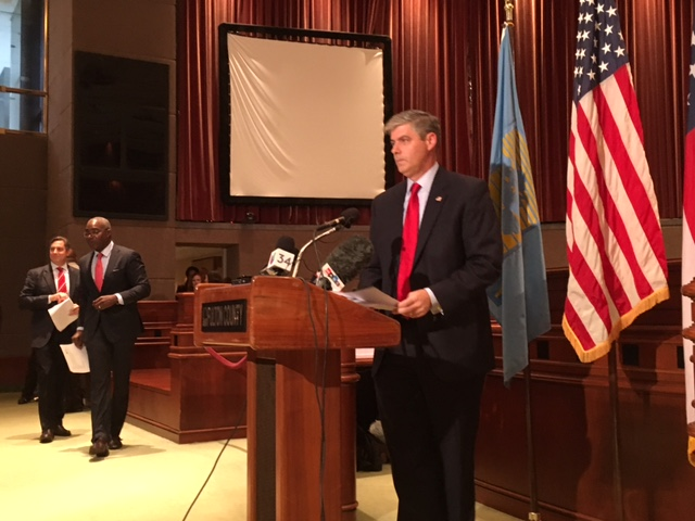 Bob Ellis,vice chairman of the Fulton County Commission, prepares on Monday to announce a county lawsuit against opioid manufacturers and distributors. Credit: Maggie Lee