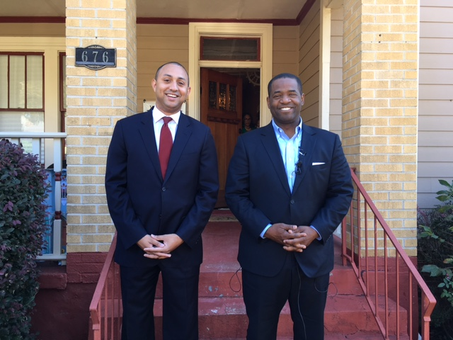 MIchael Sterling (left) dropped out of the Atlanta mayoral race and endorsed Ceasar Mitchell on Tuesday. Credit: Maggie Lee