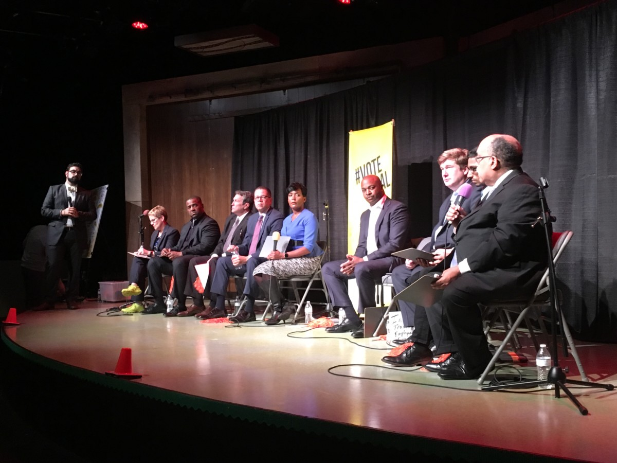 Atlanta mayoral candidates at a Center for Civic Innovation forum Monday night, just eight days ahead of election day. Credit: Maggie Lee