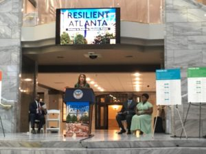 """""""I've been telling my team I can't wait for tomorrow, that's the most exciting part for me because that's when we're actually going to be implementing our strategy,"""" said Atlanta Chief Resilience Officer Stephanie Stuckey on Thursday, at the ceremonial launch of the Atlanta Resilience Strategy. Credit: Maggie Lee"""