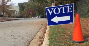a polling place sign