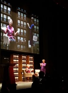 """""""I'm not going anywhere except right into the middle of the debate,"""" said Hillary Clinton, speaking at the Fox Theater on Monday night. Credit: Kelly Jordan"""