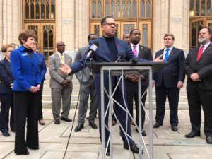 Former Fulton County Commission Chair John Eaves, at City Hall on Friday, calling for a Norwood vote. Credit: Kelly Jordan