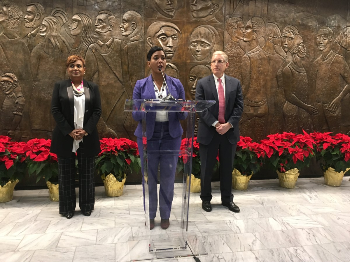 Atlanta Mayor-elect Keisha Lance Bottoms, pictured Tuesday in front of the office she's about to move into, introduced her transition team, Vicki Palmer, formerly a vice president of Coca-Cola Enterprises, and Larry Gellerstedt, leader of Cousins Properties