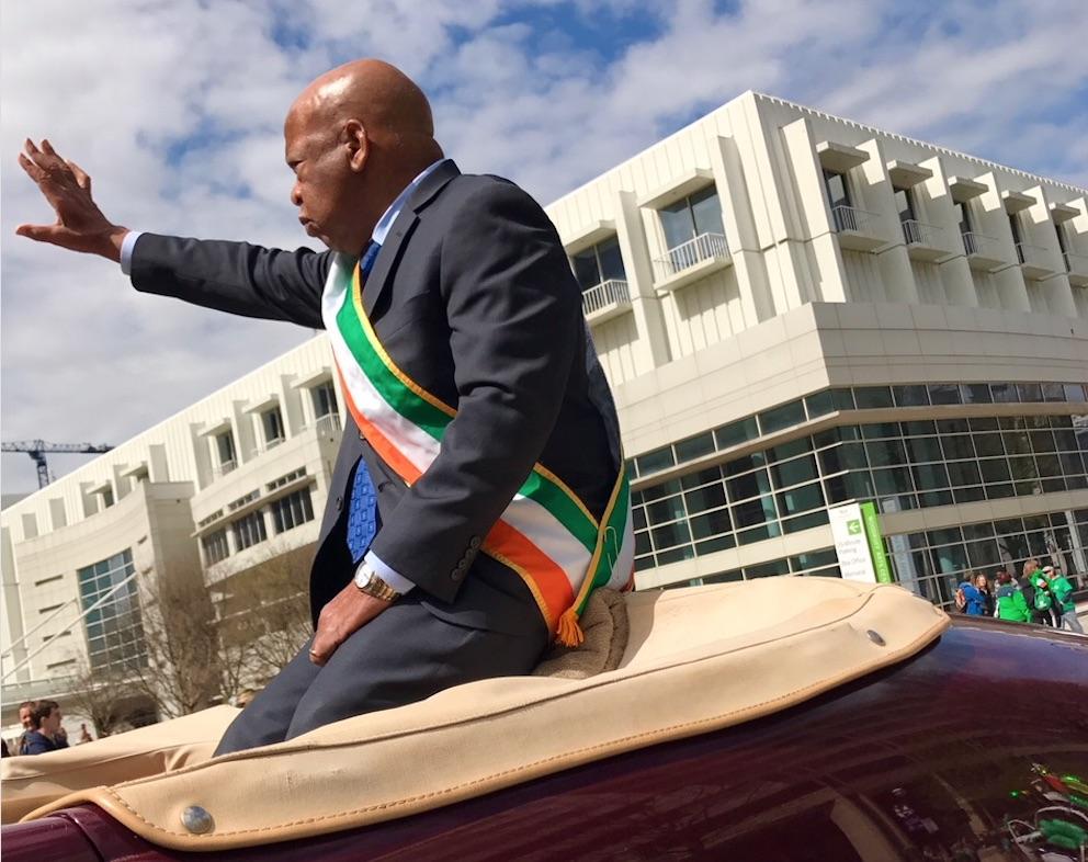 John Lewis, St. Patrick's Day parade, edited