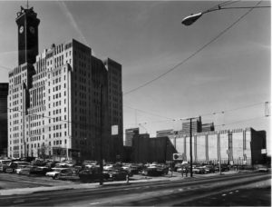 A 1978 photo shows something a little harder to see today: a much later telecommunications tower atop what was once known as the Southern Bell Telephone Company Building. Credit: James R. Lockhart via the Georgia Department of Natural Resources