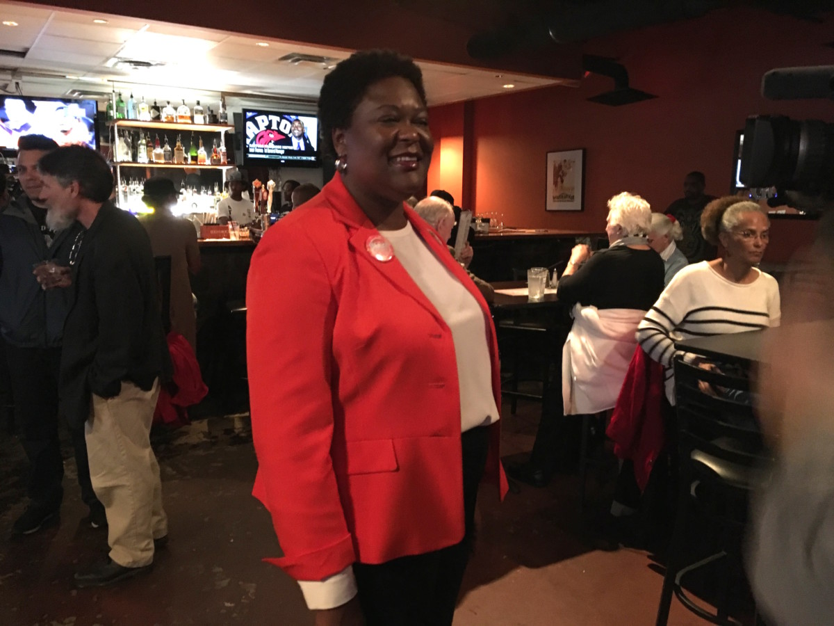 Atlanta City Council president candidate Felicia Moore on Tuesday night. Credit: Maggie Lee