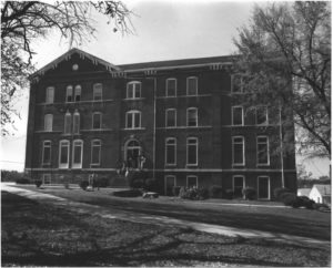 An April 1975 photo shows Gaines Hall in good shape. The photo was taken as part of the Atlanta University Center District application to join the National Register of Historic Places. Credit: Randolph Marks
