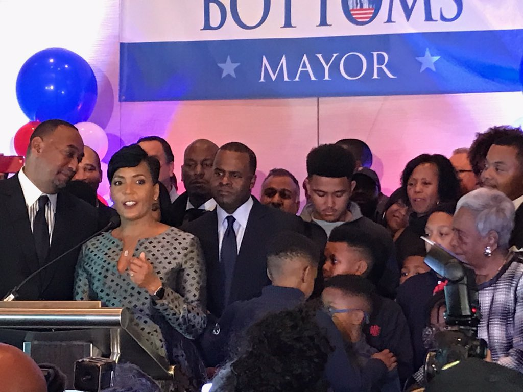Keisha Lance Bottoms thanks her supporters on Tuesday night. Credit: Maria Saporta