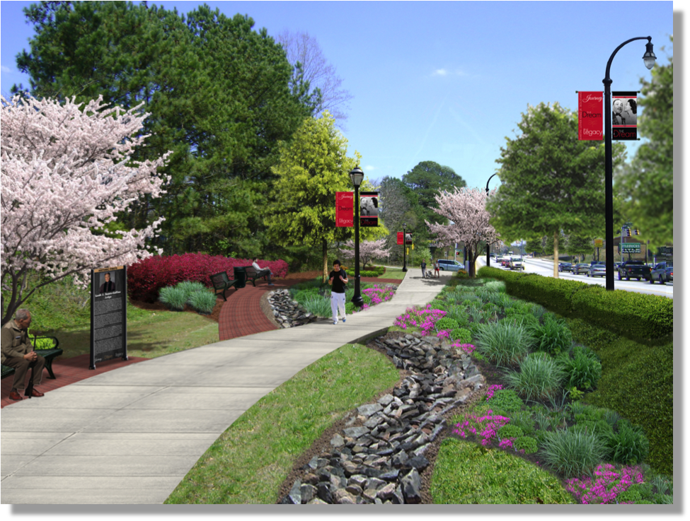 A sketch provided by the city shows a segment of a linear park planned along Martin Luther King Jr Drive from Boulder Park Dr. to Peyton Place. Credit: City of Atlanta