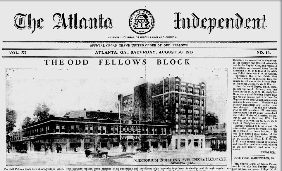 The Aug. 30, 1913 front page of the Atlanta Independent shows a sketch or photo of the Odd Fellows buildings, which by then were nearly complete. Credit: Google News