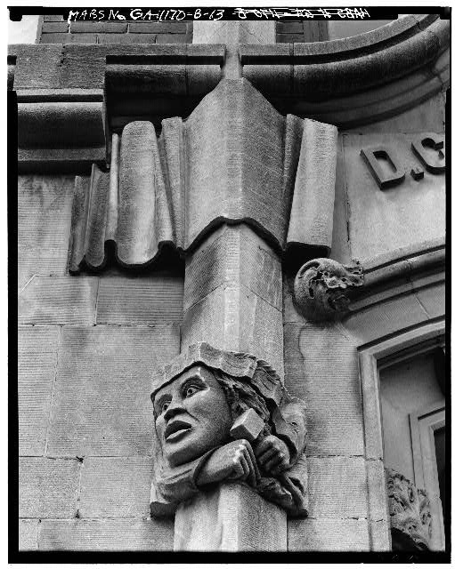 A face carved onto the front of the Odd Fellows Building. Credit: Historic American Buildings Survey