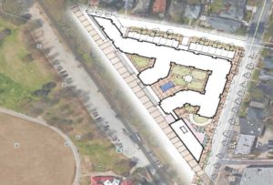 A sketch of the footprint of the mixed-use development envisioned by Fuqua Acquisitions II, LLC. Credit: Courtesy Invest Atlanta