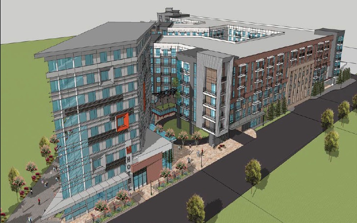 A sketch included in an Invest Atlanta handout shows a developer's vision for a mixed-use complex on the BeltLine near Piedmont Park at Tenth Street and Monroe Drive. Credit: Courtesy Invest Atlanta