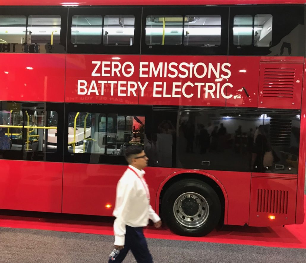 A bus on display at the American Public Transportation Association convention in Atlanta in October 2017. Credit: Kelly Jordan