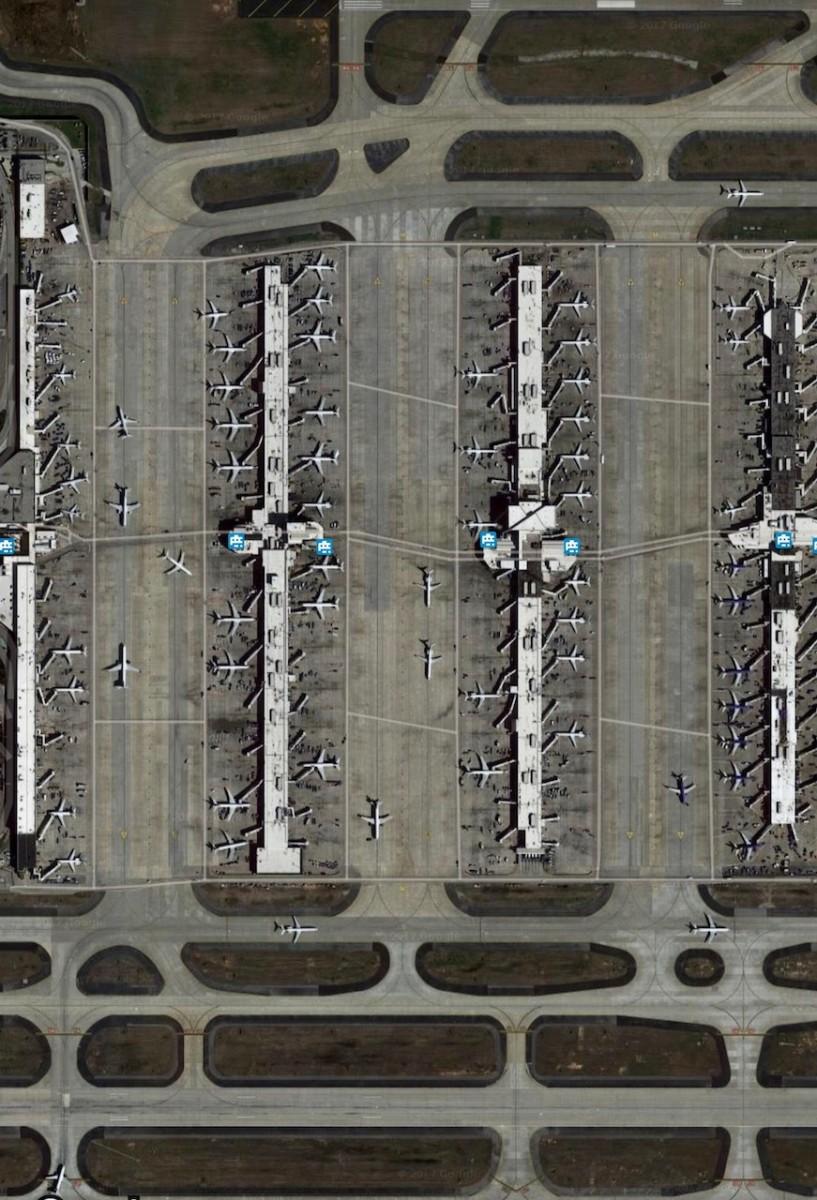 Atlanta airport runways. Credit: Google Earth