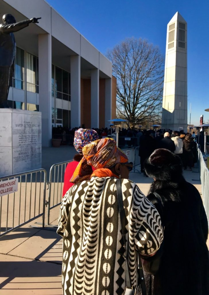 People wait outside the Martin Luther King Jr. International Chapel for the doors to open for Keisha Lance Bottoms' swearing-in as mayor. Credit: Kelly Jordan