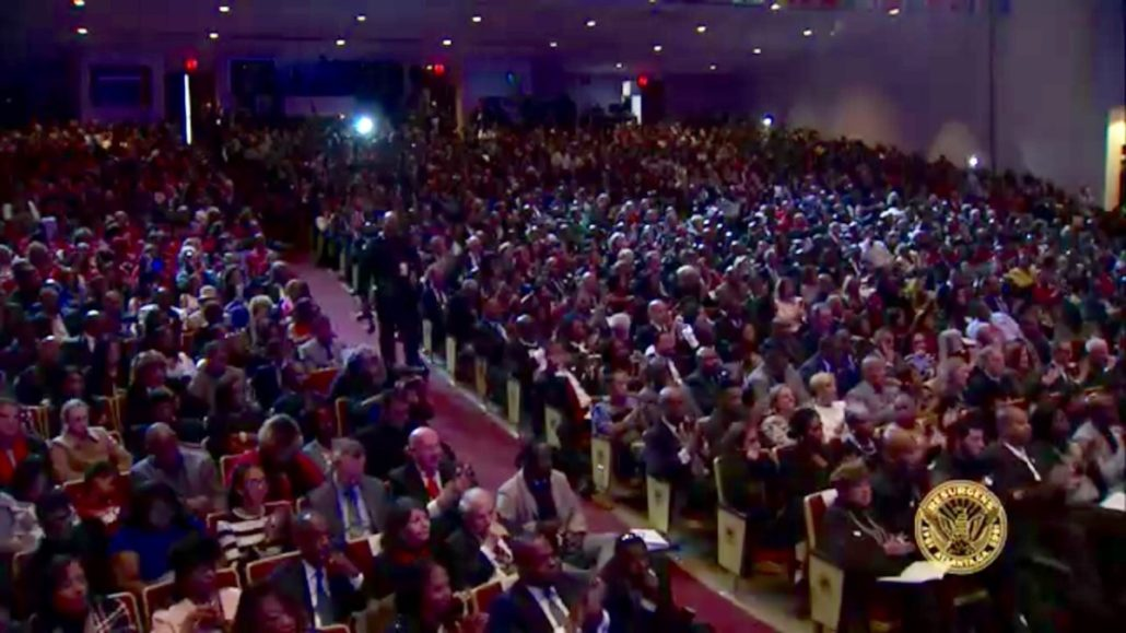 The crowd of approximately 2,500 people at Martin Luther King Jr. International Chapel for inauguration day. Credit: Atlanta Channel 26 screenshot