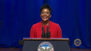 Keisha Lance Bottoms at the podium as mayor on inauguration day at Martin Luther King Jr. International Chapel. Credit: Atlanta Channel 26 screenshot