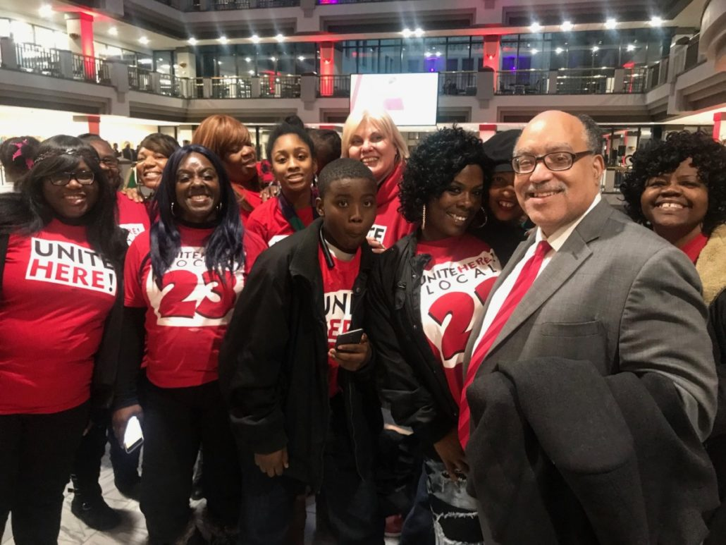 Vincent Fort and union activists at City Hall reception after the swearing-in of new Atlanta elected officials on Tuesday. Credit: Kelly Jordan