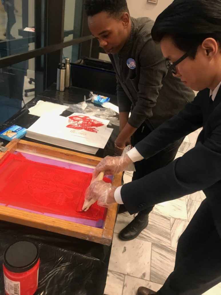 Screenprinting at City Hall reception after the swearing-in of new Atlanta elected officials on Tuesday. Credit: Kelly Jordan