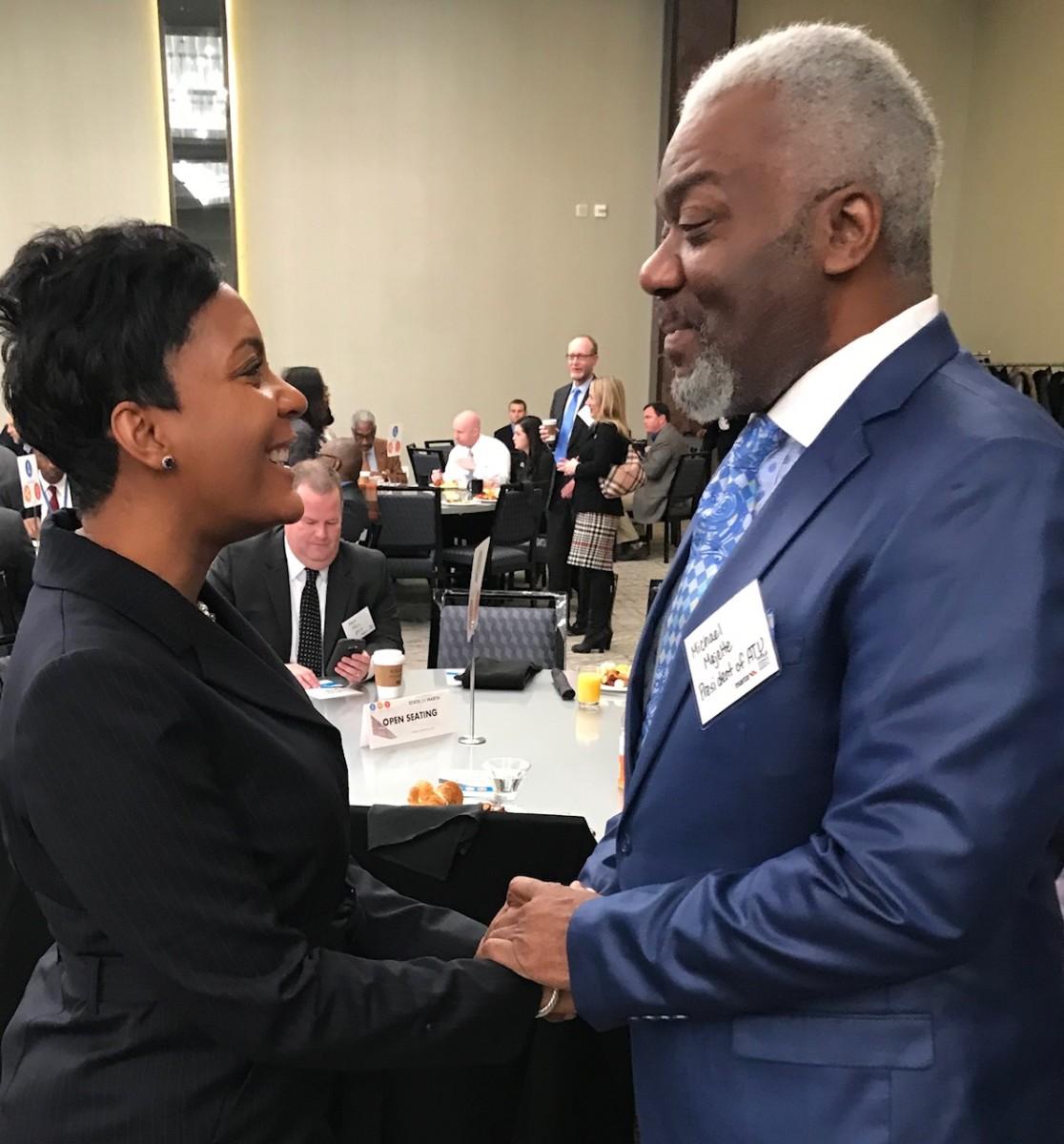 Atlanta Mayor Keisha Lance Bottoms and Amalgamated Transit Union 732 president Michael Majette. Credit: Kelly Jordan