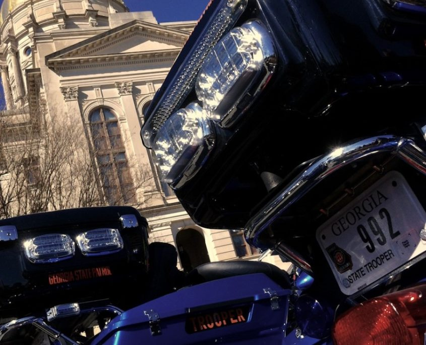 Georgia State Patrol motorcycles parked in front of the state Capitol Downtown. Credit: Kelly Jordan