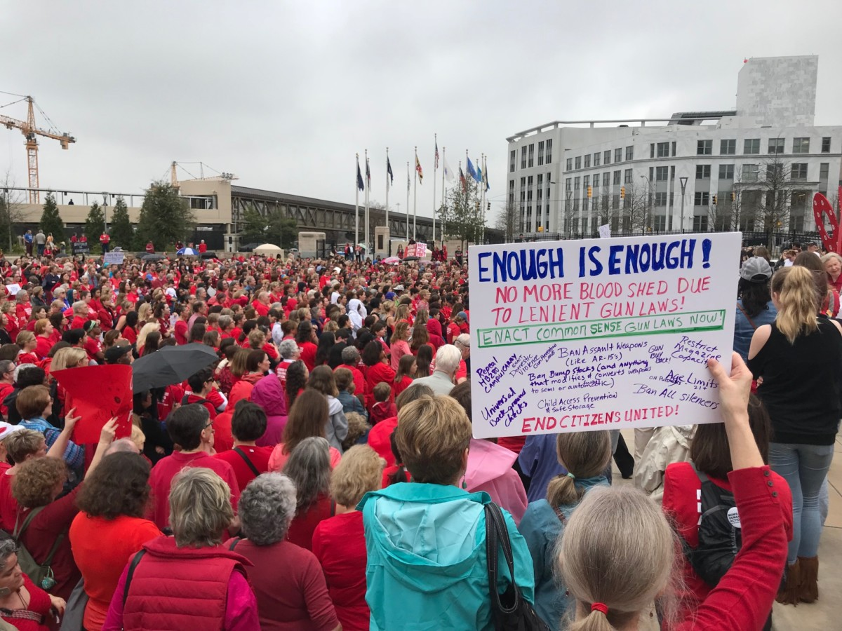 Crowd at the Moms Demand Action for Gun Sense in America rally at the state Capitol on Feb. 21, 2018 . Credit: Kelly Jordan