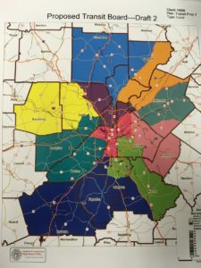 A map shows the proposed outlines of districts on a new transit board proposed by state House lawmakers. Credit: Maggie Lee