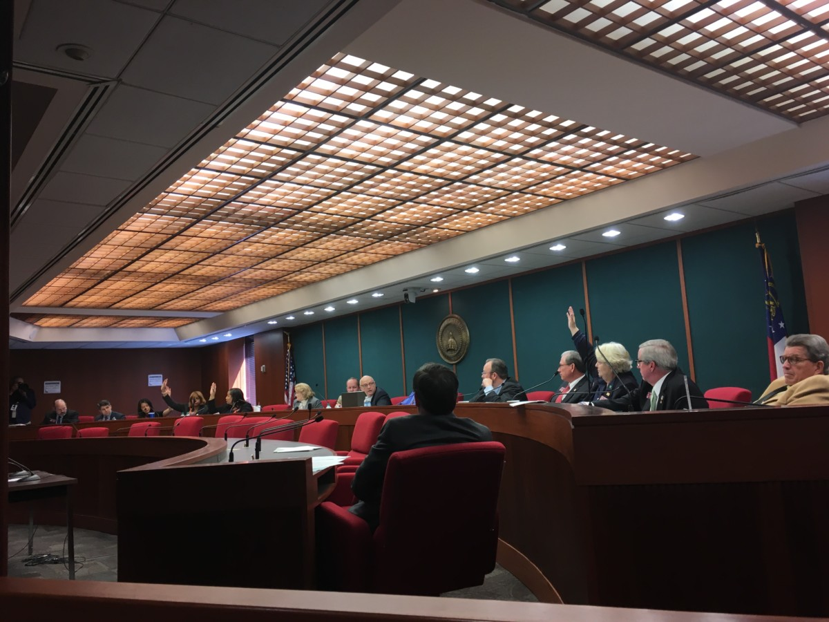 Democrats on the state House Governmental Affairs Committee voted on Wednesday against a bill to cut voting hours in Atlanta city elections. Credit: Maggie Lee